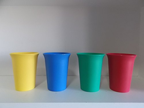 Set of 4 Vintage Tupperware Child Bell Tumbler Cups (Primary Colors)