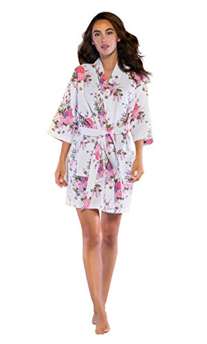 Turquaz Linen Lightweight Thigh Length Waffle Kimono Bridesmaids Spa Robe (Small/Medium, White Floral)