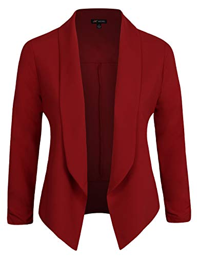 Michel Womens Casual Blazer Work Office Lightweight Stretchy Open Front Lapel Jacket Brick Large ()