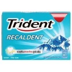 Trident Recaldent Chewing Gum Freshmint Flavored Sugar Free Dental Health Net Wt 11.2 G(pack of 3)