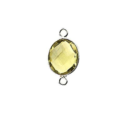 Natural Lemon Topaz, Bezel Connector Oval Shape 9x11mm Silver Plated Gemstone Connector/Pendant (LT-10182)