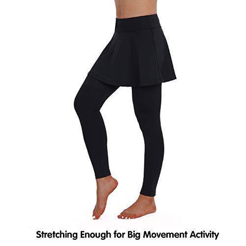 ANIVIVO Skirted Leggings Long Pants for Women, Capri Tennis Skirted Leggings with Black Skorts Pants& Women Tennis Skirted Pants Women Tennis Clothing (Allblack-Length,2XL) -