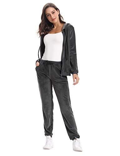 Twin Cappotto lunga cerniera grigio Donna Aibrou Set Pantaloni manica sportivo con sportivi Felpa velluto in Felpa Felpa O8fvqxO