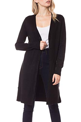 (Women's Long Soft Casual Cardigan with Pockets - Button Closure or Open Front SPOBG2_Black L )