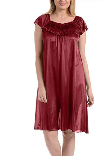 Ruffled Front Silk Gown - Ezi Women's Satin Silk Ruffle Nightgown,Red,3X