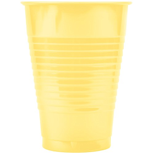Creative Converting 28102071 12 oz. Mimosa Yellow Plastic Cup - 20/Pack