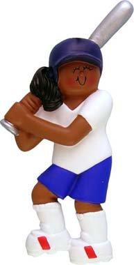 - Female African American Softball Player Christmas Ornament