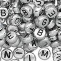 Plastic Round Beads (Plastic Alphabet Beads Silver Round 7mm, 68 grams (about 500 beads))