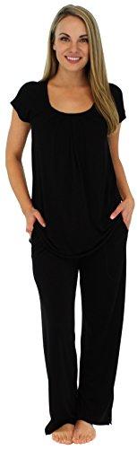 Spandex Sleep Pant (PajamaMania Women's Sleepwear Stretchy Knit Short Sleeve Oversized Top and Pants Pajama Set, Black (PMR385BLACK-LRG))