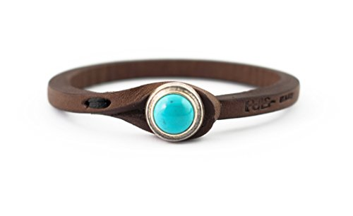 Genuine Italian Leather Bracelet in Multiple Color Combinations | Stone Closure | Handcrafted in Italy (Ginger) ... (Brown Leather with Turquoise Stone, 6.75) from Tulsi