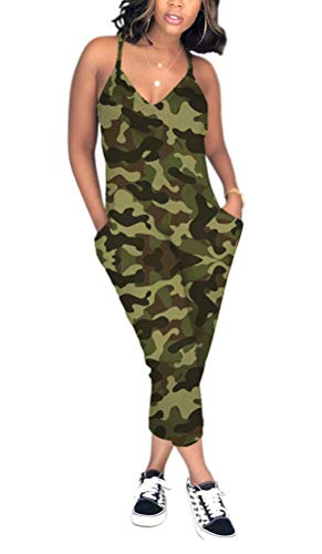 ThusFar Women Summer V Neck Spaghetti Strap Jumpsuits Camouflage One Piece Rompers Green XXXL
