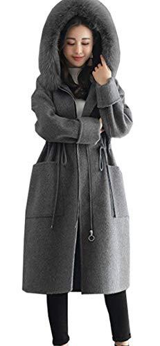Capuche A Style Unicolore Femme Serrage De Éclair Trench Grau Longues Warm Moderne Transition Simple Poches Fermeture Manteau Hiver Manteaux Cordon Gaine Manches Avant Rw1RFqTx