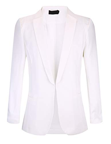 SHUIANGRAN Women's Slim Fit Notch Collar One Button Jacket Office Blazers White US 14 (tag Asian - Women Linen Blazer