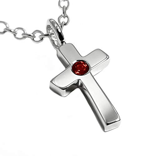 Garnet Cross Necklace Pendant in Sterling Silver, Sterling Garnet Cross Pendant, Garnet Crucifix, Sterling Silver Cross Necklace, Sterling Cross Pendant, Simple Cross Pendant, Christian Gifts ()