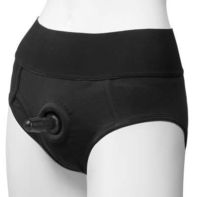 Panty Harness Brîefs with Pl-Ü'G (S/M) Black