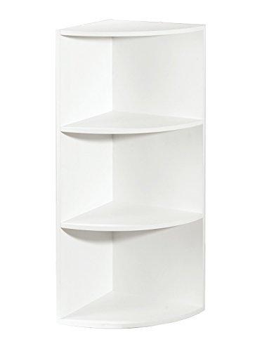 Corner Shelf Organizer, White (Stackable Bookcase White)