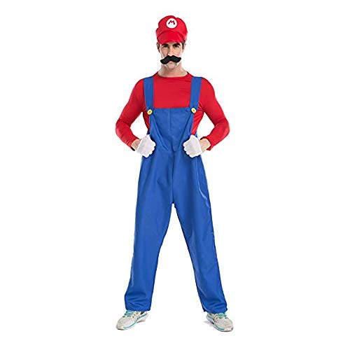 Men's Super Mario Brothers Halloween Costume Mario Halloween Deluxe Adult Cosplay Costume (XL,Red) ¡­