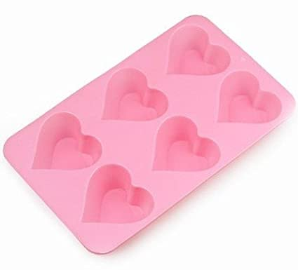Allforhome 6 Cavities Heart Silicone Cake Baking Mold Cake Pan Muffin Cups Handmade Soap Moulds Biscuit Chocolate Ice Cube Tray DIY Mold LEPAZN3141