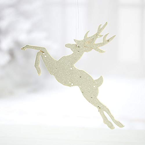 Factory Direct Craft White Glittered Leaping Deer Ornaments   Set of 10