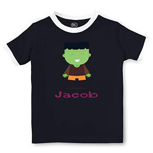 (Personalized Custom Halloween Child Frankienstien Costume Short Sleeve Crewneck Boys-Girls Toddler Cotton Soccer T-Shirt Sports Jersey - Navy,)
