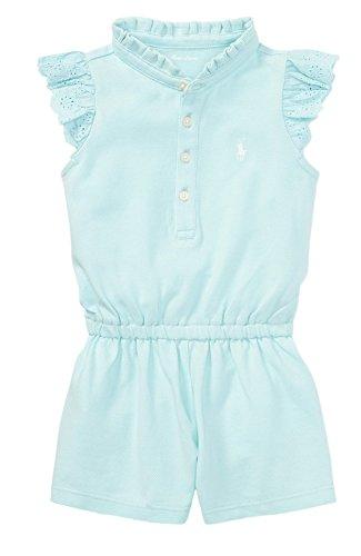 RALPH LAUREN Baby Girl Flutter-Sleeve Mesh Romper (24 Months, Crystal ()