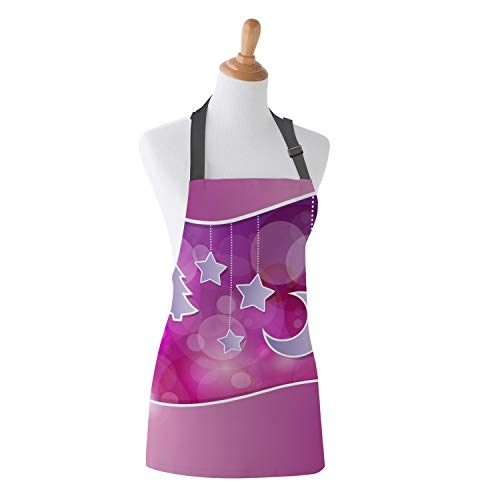 T&H Home Funny Apron Kitchen, Purple Little Star Moon Xmas Tree Patterns High Waist Kitchen Bib Apron for Women Men Girls Kids Baby Chef Plus Size 15