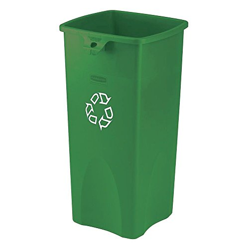 Rubbermaid 23 gal Green Plastic Untouchable Recycling Container - 16 1/2 L x 15 1/2 W x 31