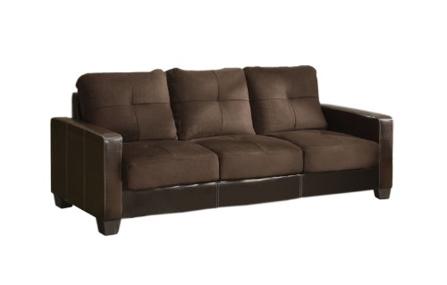 Furniture of America Microfiber Upholstered Sofa, Taupe