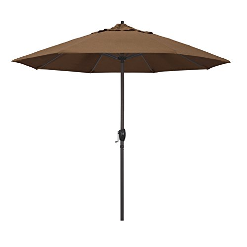 California Umbrella 9' Round Aluminum Market Umbrella, Crank Lift, Auto Tilt, Bronze Pole, Sunbrella Teak Fabric