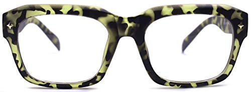 Big Square Horn Rim Eyeglasses Nerd Spectacles Clear Lens Classic Geek Glasses (GREEN LEOPARD 10294E, clear)
