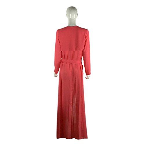 Soie Kimono Femmes Rouge Cardigan Tonsee Maxi En Avant Manches Coat De Mousseline Longues Flottantes Hwav8qxAR