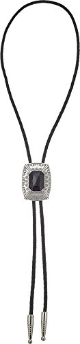 M&F Western Unisex Bolo Tie Black Stone Rectangle Pendant One Size ()