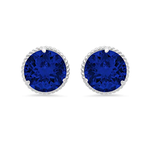 (14k White Gold Roped Halo Round-Cut Created Blue Sapphire Stud Earrings (8mm))