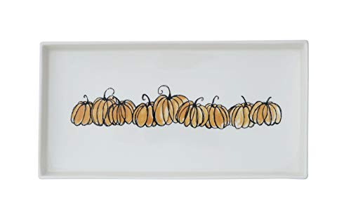 Creative Co-Op 12 Inch Stoneware Platter with Pumpkins, White -