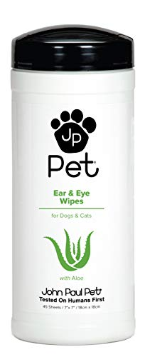 "John Paul Pet Ear and Eye Pet Wipes for Dogs and Cats, Infused with Aloe, 7"" x 7"" Sheets in 45-Count Dispenser, Unscented"