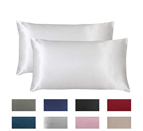 "Omelas 2 Pack King Silk Satin Pillowcases for Hair and Skin King Size Silky Smooth Pillow Cases Solid Colored Cool Sateen Pillow Cover with Envelope Closure (Ivory, 20""x40"")"