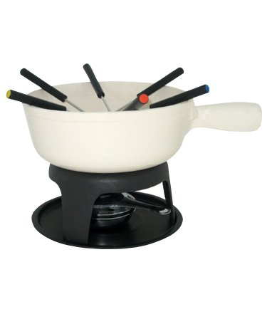 Le Cuistot Enameled Cast-Iron Cheese Fondue Set 8.25 Inches - White Orly