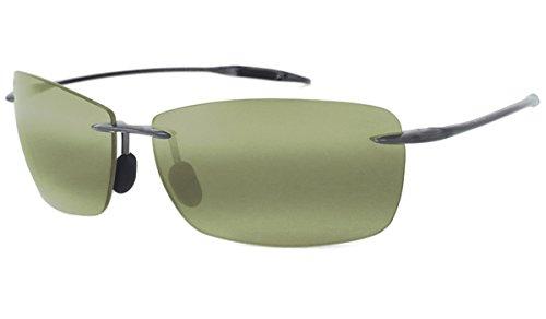 Maui Jim Lighthouse HT423-11 Polarized Rectangular Sunglasses,Smoke Grey Frame/Maui HT Lens,One Size