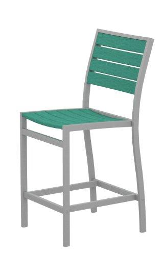 Companion Outdoor Bar Stool - POLYWOOD A101FASAR Euro Counter Side Chair, Textured Silver/Aruba