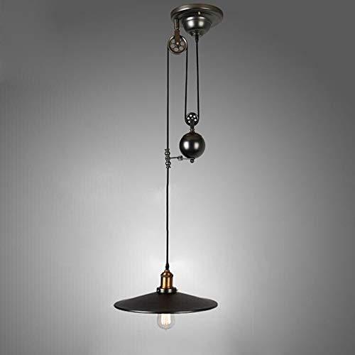 (Tlinksy Pulley Chandelier American Industrial Wind Wrought Iron Pendant Lightloft Restaurant Cafe bar,1Light)