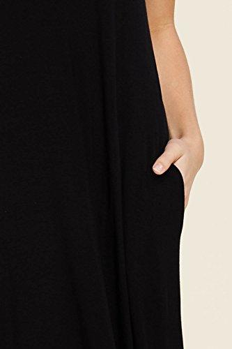 Réservoir Sans Manches Casual Col V Féminin Annabelle Top Robes Maxi Longues Avec Des Poches Noires