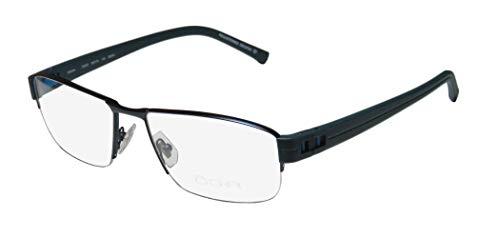 Oga By Morel 7926o For Men Designer Half-rim Flexible Hinges Prestigious Hot High-end Eyeglasses/Eye Glasses (58-18-140, Dark Teal/Blue) (Gold-designer-brille)