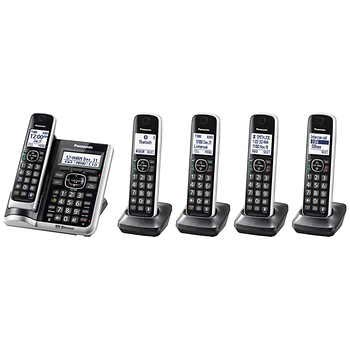 Panasonic KX-TG885SK DECT 6.0 Link2Cell Bluetooth Enabled with Talking Caller ID 5 Handset Cordless Phone - Bluetooth Enabled Handsets