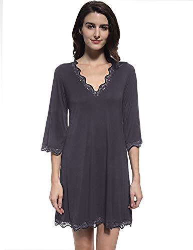 Mobisi Womens Black Cotton Nightgown Soft V Neck Lace Sleepshirt Sleepdress Short (Medium,Dark Grey)