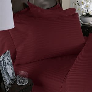 Luxurious Six (6) Piece BURGUNDY Damask Stripe, KING Size, 1500 Thread Count Ultra Soft Single-Ply 100% Egyptian Cotton, Extra Deep Pocket Bed Sheet Set with FOUR (4) PILLOW CASES 1500TC
