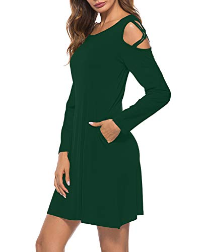Femmes Robes Épaule Froid Col Rond T-shirt Casual Tunique Lâche Robe A2_dark Vert