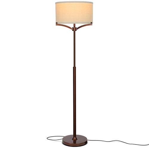 Brightech Elijah LED Floor Lamp – Free Standing Pole Light for Living Room or Office — Modern Tall Reading Light with Drum Shade - LED Bulb Included - Oil Brushed Bronze