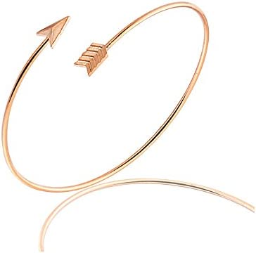 MANZHEN Adjustable Arrow Feather Upper Arm Cuff Bangle Open Armlet Armband Bracelet