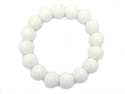 (jennysun2010 Handmade Natural White Alabaster Gemstone Smooth Round Loose Beads 12mm Stretchy Bracelet Healing  8.5'' Inches Wrist ( 18pcs Beads in the Bracelet ))