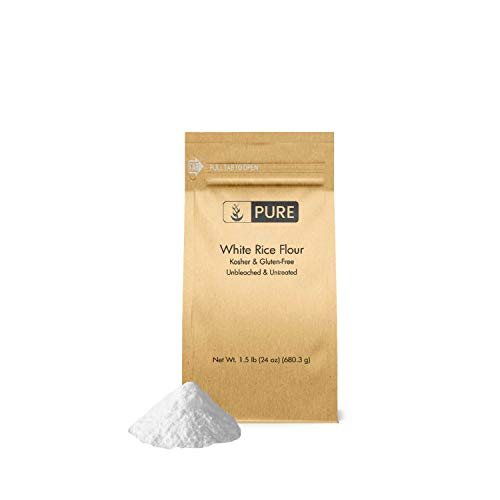 White Rice Flour (1.5 lb.) by Pure Organic Ingredients, Kosher, Gluten-Free, Fat-Free, Sodium-Free, Unbleached & Untreated, Vegan